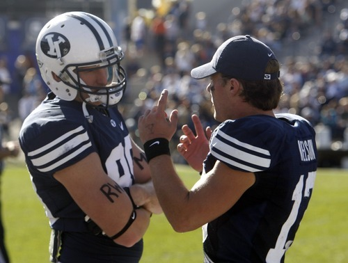 Rick Egan    The Salt Lake Tribune   Brigham Young Cougars tight end Matthew Edwards (89) talks with Riley Nelson (13) during the game against Idaho State at Lavell Edwards Stadium, Saturday, Oct. 22, 2011.