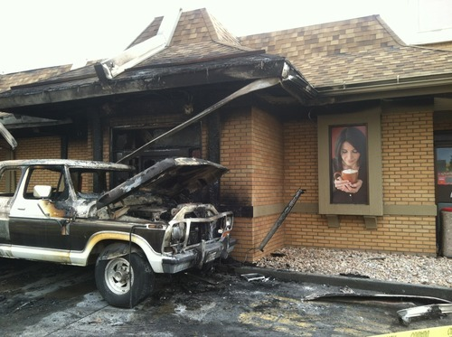 Keith Johnson  |  The Salt Lake Tribune A pickup truck caught fire and flames spread into a Sugar House McDonald's, causing an estimated $1 million in damage Saturday.