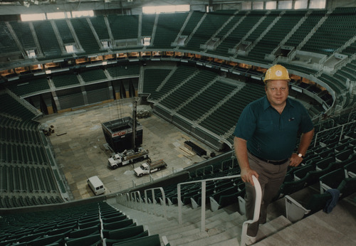 Utah Jazz owner Larry H. Miller visits the Delta Center  in the early 1990s, shortly before construction was completed on the arena.  Rick Egan/Tribune file photo