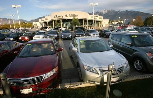 Steve Griffin  |  The Salt Lake Tribune   Larry H. Miller car dealership in the Automall in Sandy, Utah Wednesday, October 12, 2011.