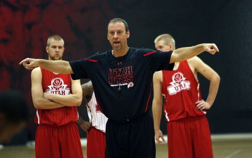 Francisco Kjolseth  |  The Salt Lake Tribune The University of Utah basketball team starts their second full week of practice under first year coach Larry Krystkowiak in the renovated Hyper gym on the University of Utah campus on Tuesday, October 25, 2011.