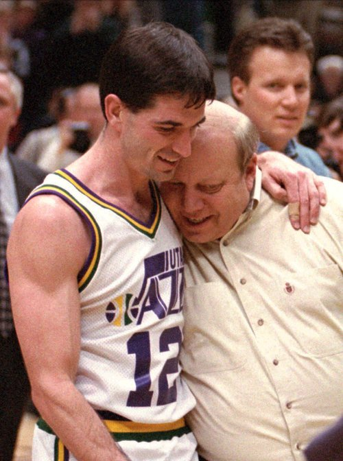 Utah Jazz guard John Stockton and team owner Larry H. Miller hug after Stockton set a new NBA steal record in February 1996 in Salt Lake City against the Boston Celtics.  Associated Press file photo