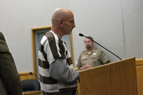 Chris Detrick  |  The Salt Lake Tribune Lon Kennard speaks during his sentencing at the Wasatch County Justice Center Wednesday November 2, 2011. Kennard was sentenced to three consecutive five years to life sentences.