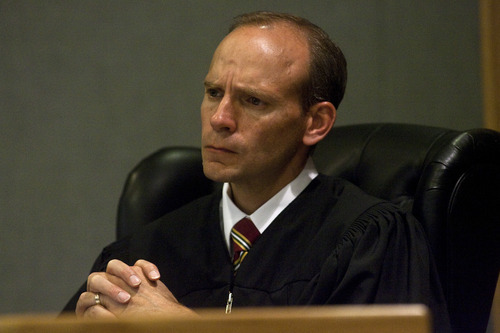 Chris Detrick  |  The Salt Lake Tribune Judge Derek Pullan listens to victims of Lon Kennard speak during Kennard's sentencing at the Wasatch County Justice Center Wednesday November 2, 2011. Kennard was sentenced to three consecutive five years to life sentences.