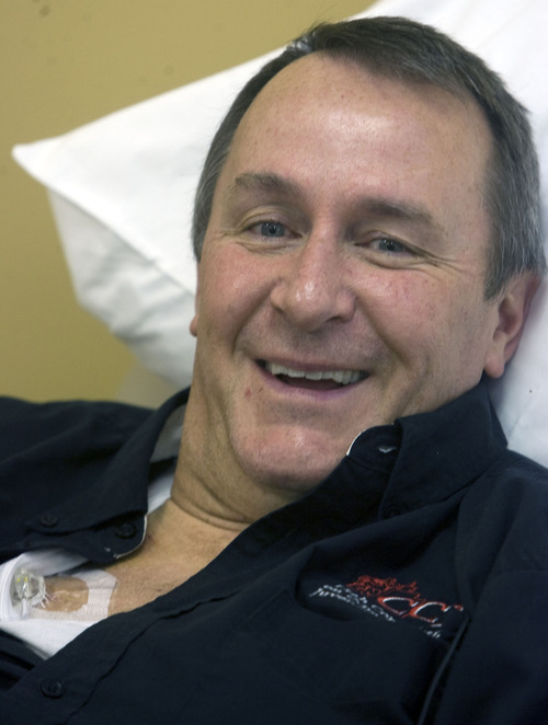 Al Hartmann  |  The Salt Lake Tribune  Utah Attorney General Mark Shurtleff was in good spirit as he started his first chemo infusion treatment 9 a.m. Monday January 10th at the  Jordan Valley Hospital Office of Utah Cancer Specialists.   The port on the upper right side of his chest is where the chemo is delivered.