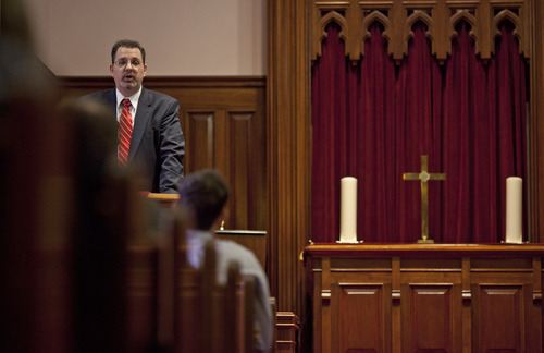 Lennie Mahler  |  The Salt Lake Tribune Kevin Kloosterman, an LDS Bishop, speaks to an interfaith congregation during