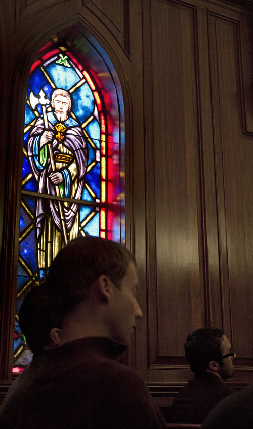 Lennie Mahler  |  The Salt Lake Tribune Members of an interfaith congregation listen during a service about being LDS and LGBTQ. The service was part of a three-day conference called