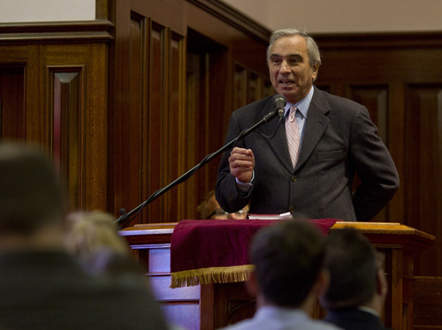 Lennie Mahler  |  The Salt Lake Tribune Rev. Jimmy Creech speaks to an interfaith congregation during