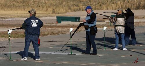 Steve Griffin     The Salt Lake Tribune Sportsmen shoot trap at the Lee Kay Center in Salt Lake City.