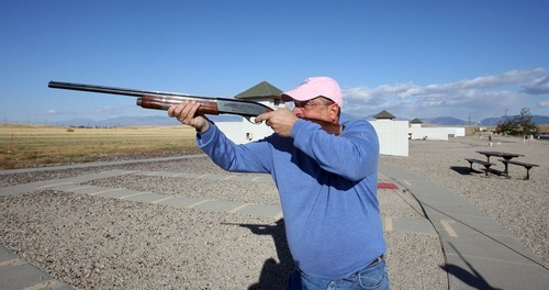 Steve Griffin     The Salt Lake Tribune Michael Wolfe shoots clay pigeons at the Lee Kay Center in Salt Lake City. Wolfe was at the range with his brother practicing for a hunting trip to South Dakota.