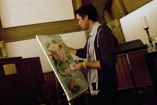 Djamila Grossman  |  The Salt Lake Tribune  Jonathan Hickerson paints as he worships at The Mount, a service for young adults at Mount Olympus Presbyterian Church on the Salt Lake Valley's east bench on Sunday, Oct. 23, 2011.