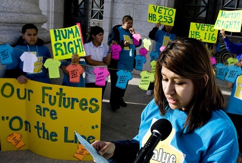 DJAMILA GROSSMAN  |  The Salt Lake Tribune Nelly Flores, 18, reads a statement as she gathers with other local youth outside the Capitol to read messages regarding immigration bills in the Legislature on Wednesday. The rally was was organized around the theme
