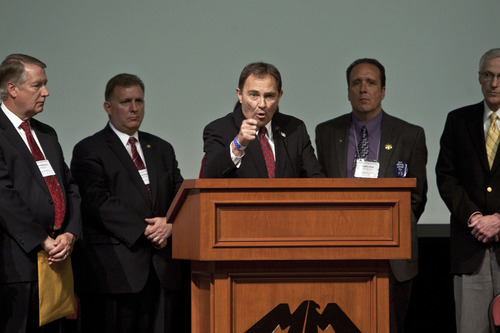 Chris Detrick | Tribune file photo Gov. Gary Herbert speaks during the annual Utah County Republican Party convention at Maple Mountain High School in April. Herbert was speaking in support of guest-worker law HB116.