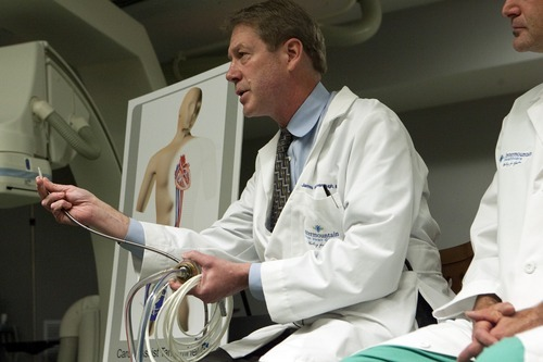 Chris Detrick  |  The Salt Lake Tribune Cardiologist James Revenaugh, M.D,. talks about Stephen Summerill's heart procedure at Intermountain Medical Center on Wednesday, Nov. 9, 2011.