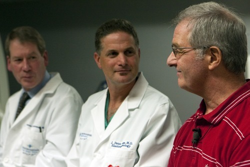 Chris Detrick  |  The Salt Lake Tribune Cardiologist James Revenaugh, M.D,. left, heart rhythm specialist Peter Weiss, M.D., and Stephen Summerill talk about Sumerill's heart procedure at Intermountain Medical Center on Wednesday, Nov. 9, 2011.