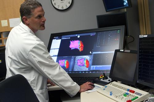 Chris Detrick  |  The Salt Lake Tribune Heart rhythm specialist Peter Weiss, M.D., and Stephen Summerill talk about Sumerill's heart procedure at Intermountain Medical Center on Wednesday, Nov. 9, 2011.