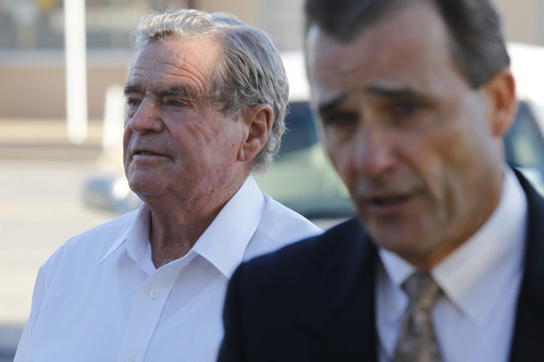 Fredrick Merril Jessop, a former leader of the Fundamentalist Church of Jesus Christ of Latter-Day Saints, walks to the front entrance of the Coke County Courthouse in Robert Lee, Texas on Monday, Oct. 31, 2011 with attorney Rae Leifeste for the jury selection phase of his trial. Jessop is charged with performing a ceremony prohibited by law, a third-degree felony punishable by two to 10 years in prison and a fine up to $10,000. (AP Photo/San Angelo Standard-Times, Patrick Dove)