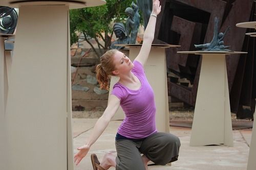 BYU student choreographer Catherine Taggart improvising in the sculpture garden at Taliesin West.  Courtesy Karen Jensen