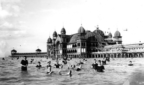 People swimming at Saltair in 1933.