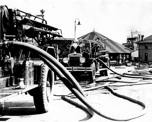 Fire trucks at the scene of the 1931 fire at Saltair.