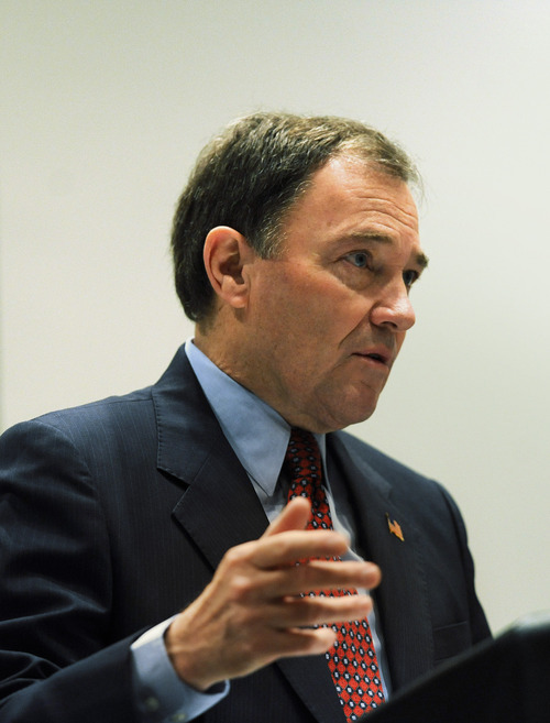Tribune file photo Utah Gov. Gary Herbert has his first challenger: Republican state Rep. Ken Sumsion, R-American Fork. The governor, who is holding his biggest annual fundraiser of the year Friday night, is expected to raise more than $1 million for his campaign.