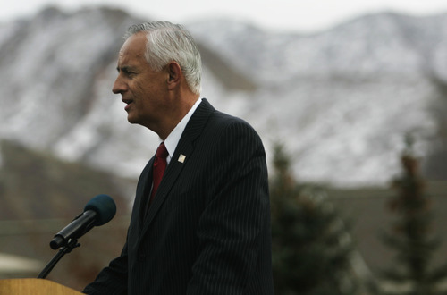 Kim RAFF  |  The Salt Lake Tribune State Senate President Michael Waddoups speaks at an event commemorating the first anniversary of the signing of The Utah Compact at This is the Place Heritage Park in Salt Lake City on Friday.