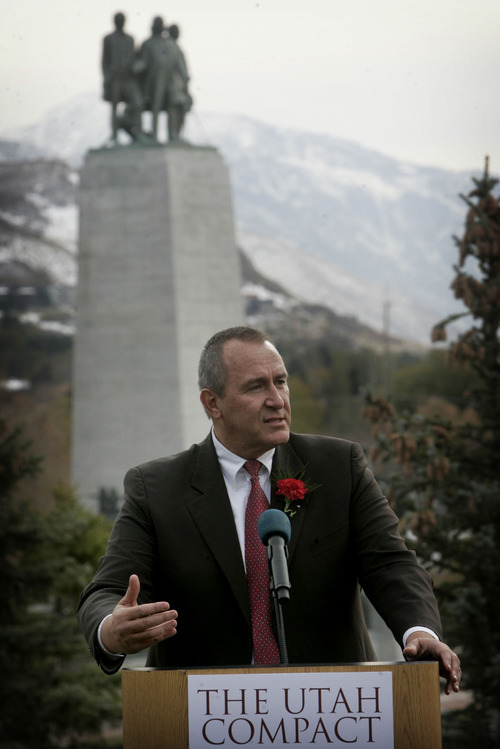 Kim Raff  |  The Salt Lake Tribune Attorney General Mark Shurtleff evoked the Mormon pioneers in speaking at an event Friday commemorating the first anniversary of the signing of The Utah Compact at This is the Place Heritage Park.