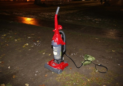 Trent Nelson  |  The Salt Lake Tribune A vacuum sits abandoned after Salt Lake City police cleared the Occupy Salt Lake tent city from Pioneer Park in Salt Lake City, Utah, Saturday, November 12, 2011.