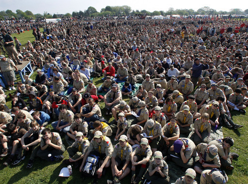 Associated Press file photo Boy Scouts gather during ceremonies at New Jersey's Boy Scouts Camporee in Sea Girt, N.J., last May. Salaries of top Boy Scout executives nationally has generated some criticism of the organization. Some Utah salaries are big -- but lower than nationally and in other states.