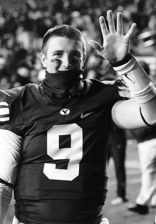 Rick Egan  | The Salt Lake Tribune   Brigham Young Cougars quarterback Jake Heaps (9) waves to fans after the BYU vs. the Idaho Vandals football game at Lavell Edwards Stadium, Saturday, November 12, 2011.