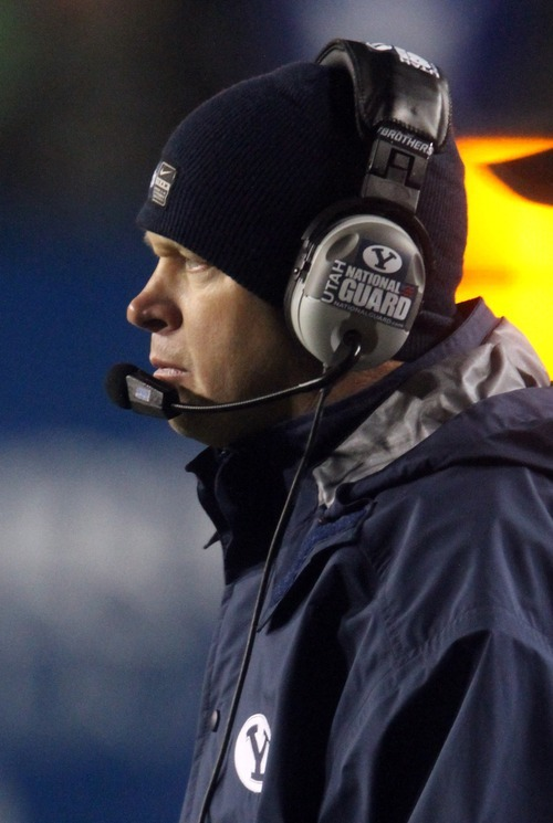 Rick Egan  | The Salt Lake Tribune   Brigham Young Cougars head coach Bronco Mendenhall, on the sidelines,  in football action, BYU vs. the Idaho Vandals football game at Lavell Edwards Stadium, Saturday, November 12, 2011.