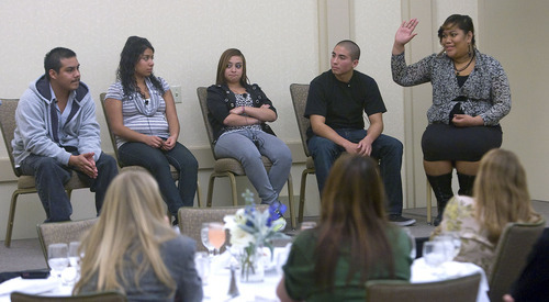 Al Hartmann  |  The Salt Lake Tribune Michael Lopez, 20, a student at Salt Lake Community College, left, Nayeli Contreras, Kania Nunez, Wally Begay, and Linda Toli, all seniors at Horizonte formed a panel that explained to professionals why they dropped out of high school during Dropout Prevention: Next Steps for Utah summit Monday November 14.