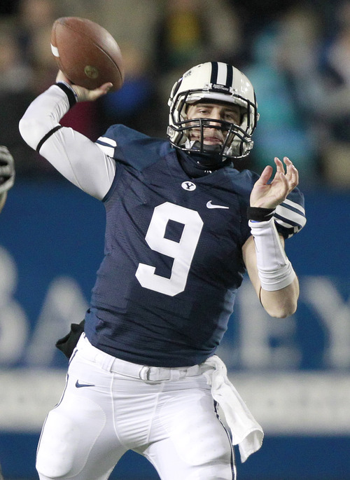 BYU quarterback Jake Heaps throws a pass against Idaho during the first half of an NCAA college football game at LaVell Edwards Stadium, Saturday, Nov. 12, 2011, in Provo. Heaps replaces Riley Nelson at quarterback when he left the game in the first quarter with an injury. (AP Photo/George Frey)