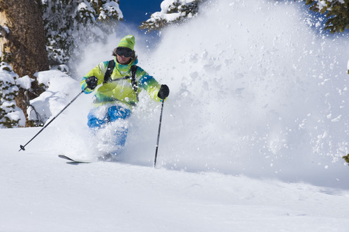 Jamie Pierre skiing deep powder at Alta, Utah. Courtesy Scott Markewitz