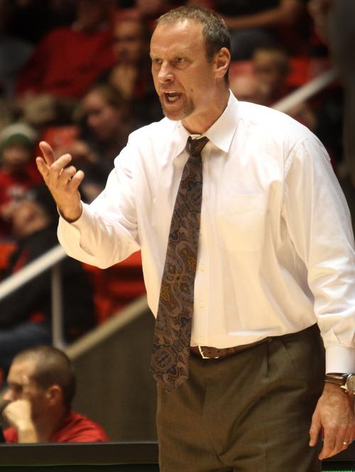Rick Egan  | The Salt Lake Tribune   Utah head coach Larry Krystowiak shouts directions to his team, in basketball action, Utah vs. San Diego Christian College, at the Huntsman Center, Monday, November 14, 2011.