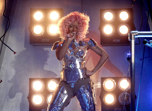 Nicki Minaj performs at the 39th Annual American Music Awards on Sunday, Nov. 20, 2011 in Los Angeles. (AP Photo/Matt Sayles)