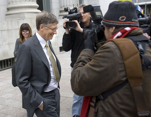 Al Hartmann  |  The Salt Lake Tribune Bill Gates leaves federal court in Salt Lake City on Monday, Nov. 21 after the first day testimony in the lawsuit pitting Novell against Microsoft.