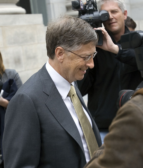 Al Hartmann  |  The Salt Lake Tribune Bill Gates leaves federal court in Salt Lake City on Monday, Nov. 21 after the first day testimony in a lawsuit pitting Novell against Microsoft.
