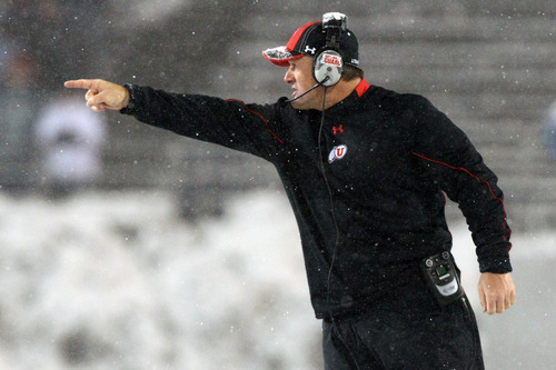 Chris Detrick  |  The Salt Lake Tribune Utah Utes head coach Kyle Whittingham argues a call during the second half of the game at Martin Stadium at Washington State University Saturday November 19, 2011. Utah defeated Washington State 30-27 in overtime.