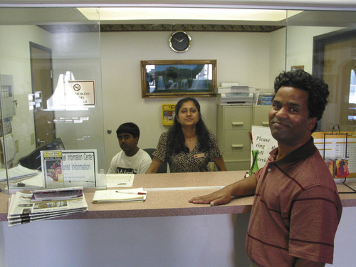 Chris Smart  |  Tribune file photo Kunal, background, Sarita and Ken Sah during happier times at their Ramada Limited motel in Green River around 2005. Ken and Sarita returned to India in 2006. Kunal stayed in Utah until last August.