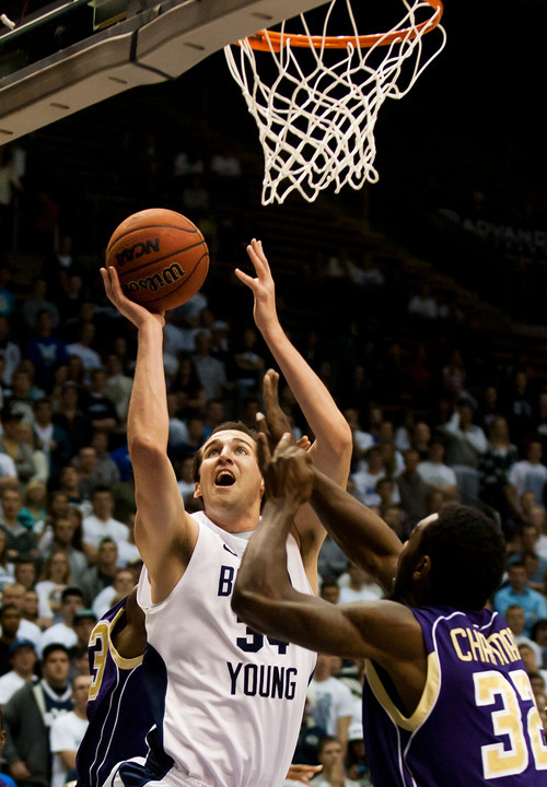 BYU's Noah Hartsock shoots against Prairie View A&M during an NCAA college basketball game at the Marriott Center in Provo, Utah, on Tuesday, Nov. 22, 2011. (AP Photo/The Daily Herald, Spenser Heaps)