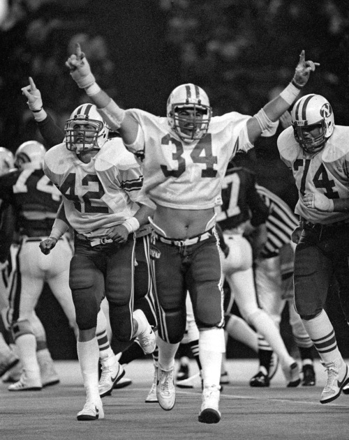 Photo courtesy Mark A. Philbrick/BYU  BYU's Kurt Gouveia celebrates during their game against Hawaii in 1984.