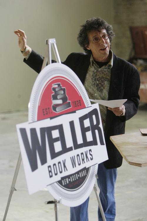 Francisco Kjolseth     The Salt Lake Tribune Tony Weller, owner of Sam Weller Books, announces plans for the new store location inside Trolley Square under the new name of Weller Book Works on Wednesday.