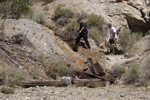 Trent Nelson  |  The Salt Lake Tribune Investigators from the West Valley City police department search abandoned mine shafts in the Ward Mining District south of Ely, Nev., on Aug. 19, 2011, as part of the investigation into the 2009 disappearance of Susan Powell,