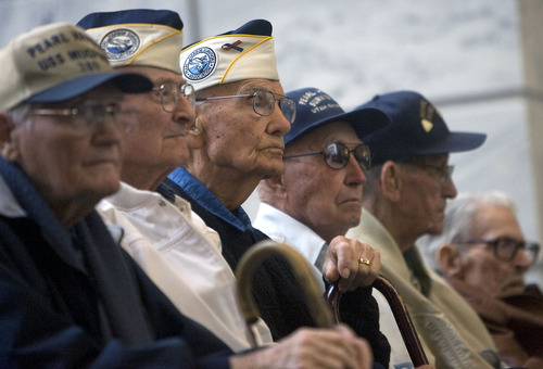 Al Hartmann  |  The Salt Lake Tribune  Surviving Pearl Harbor veterans from Utah were honored at a  ceremony remembering the 70th anniversary of the attack on Pearl Harbor at the Utah State Capitol Wednesday, Dec. 7.