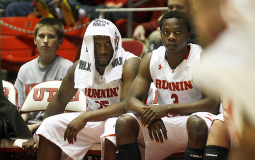 Francisco Kjolseth  |  The Salt Lake Tribune Utah's Josh Watkins, left, and Anthony Odunsi watch as the last seconds tick away as Utah takes on Montana State at the Huntsman Center on Saturday, November 19, 2011.