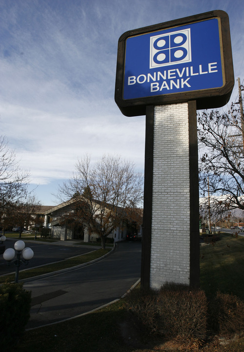 Francisco Kjolseth  |  The Salt Lake Tribune Bonneville Bank will stay in Provo, where it was established four decades ago, its news oner says. Bank customers won't see any difference. The bank's name will stay the same. It will still offer checking and savings accounts, credit and debit cards and loans.