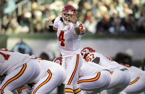 Kansas City Chiefs' Tyler Palko (4) yells during the first quarter of the NFL football game against the New York Jets, Sunday, Dec. 11, 2011, in East Rutherford, N.J. (AP Photo/Kathy Willens)