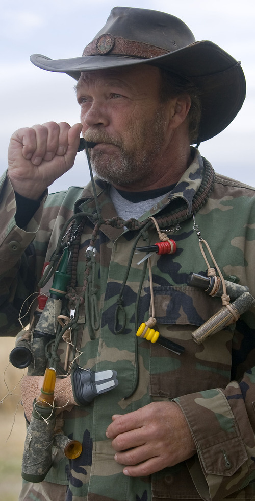 Al Hartmann  |  The Salt Lake Tribune Bill Keebler is a varmint hunting outfitter. He specializes in coyote hunting. He often hunts the basins and mountain ranges west of his home in Vernon.  He has many types of coyote calls to help lure them into view.
