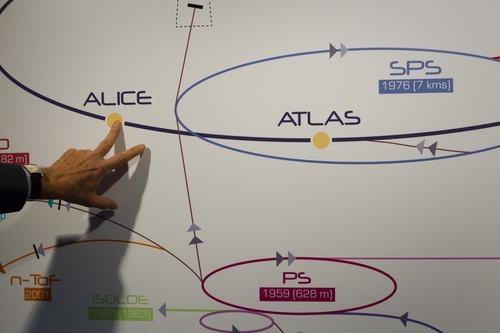 A physicist explains the Atlas experiment in May 2007 on a board at the European Center for Nuclear Research, CERN, outside Geneva, Switzerland. The illustration shows how a Higgs boson may look like in Atlas.   Scientists at CERN will  hold a public seminar Tuesday Dec. 13, 2011  to present their latest findings from the search for an elusive sub-atomic particle known as the Higgs boson. Physicists are increasingly confident that they have narrowed down the place where it will be found and may even already have hints at its existence hidden away in reams of data. (AP file photo)